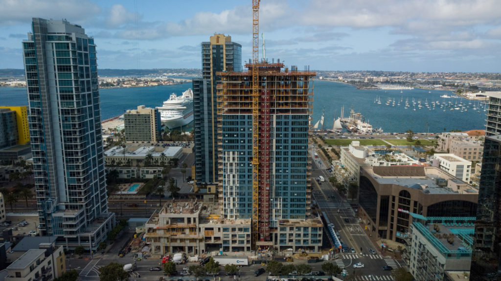 Wide shot Aerial Progress Photography of Savina building construction in downtown San Diegpo