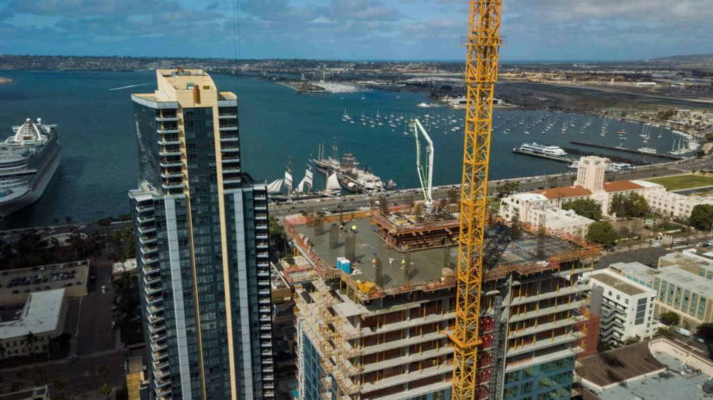 Aerial Progress Phototography of 32nd floor Savina building construction in downtown San Diegpo