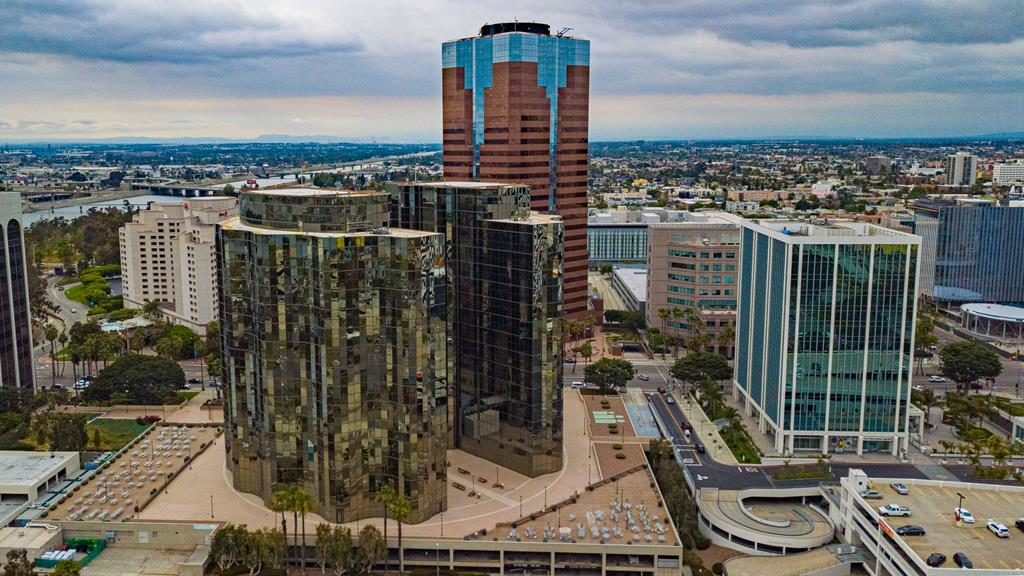 Aerial view of high rise buildings in Long Beach, CA