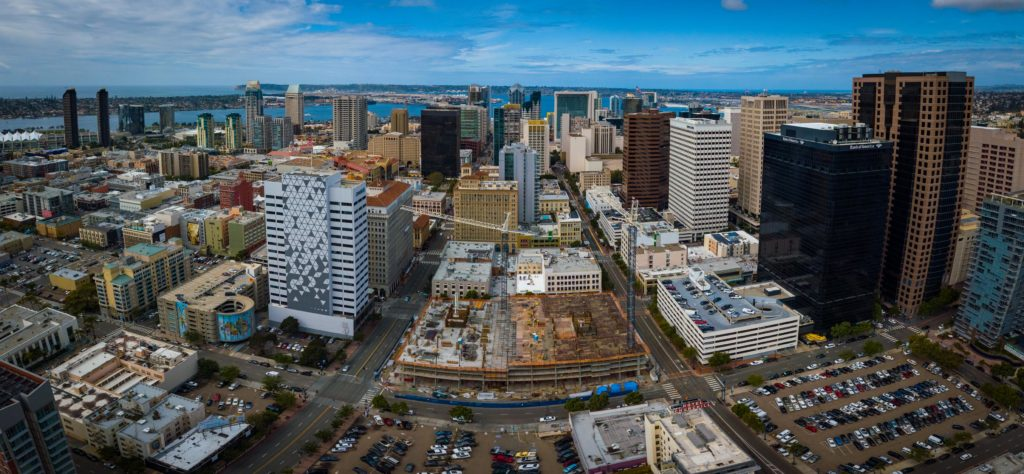 Panorama of Drone Progress Photography looking at Broadway Block Construction and Downtown San Diego